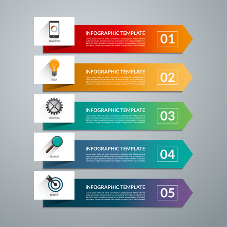 Arrow design elements for business infographics. Vector template with 5 steps, parts, options, stages.  Minimal colorful numbered banners for diagram, graph, report, presentation, chart, web design. Vettoriali
