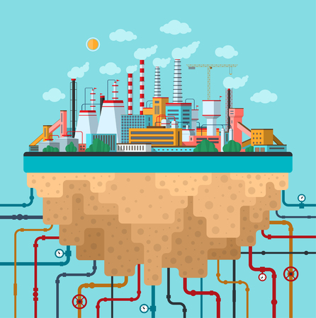 Industrial landscape. Factory, plant, smoking pipes, buildings, constructions, utilities, communications. Ecology and nature pollution conceptual background. Flat design banner. Vector illustration