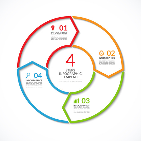 loops: Infographic circle template. Simple vector concept banner with 4 options, steps, parts. Can be used for graph, report, presentation, diagram, chart, web design Illustration