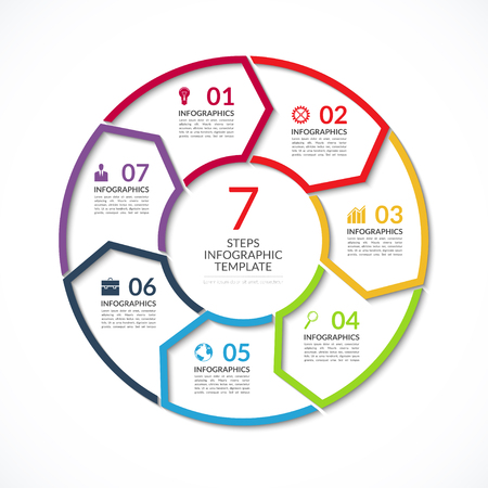visualisation: Infographic circle template. Simple vector concept banner with 7 options, steps, parts. Can be used for graph, report, presentation, diagram, chart, web design Illustration