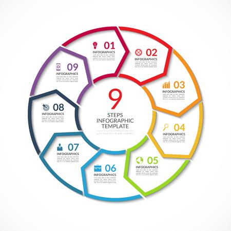 Modello di cerchio Infografica. Semplice concetto di vettore banner con 9 opzioni, gradini, parti. Può essere usato per grafico, relazione, presentazione, diagramma, grafico, web design Archivio Fotografico - 56752512