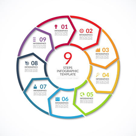 Infographic circle template. Simple vector concept banner with 9 options, steps, parts. Can be used for graph, report, presentation, diagram, chart, web design Illustration