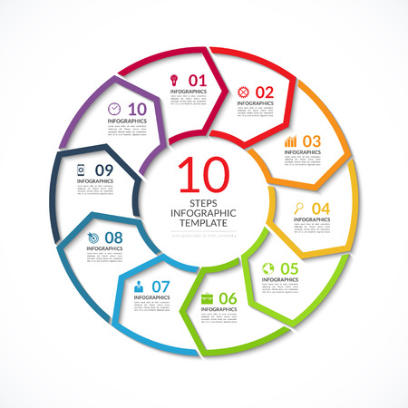 visualisation: Infographic circle template. Simple vector concept banner with 10 options, steps, parts. Can be used for graph, report, presentation, diagram, chart, web design