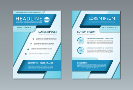 blank page: Vector brochure flyer leaflet template. A4 size. Front and back page. Blank layout with business icons and infographic elements. Illustration