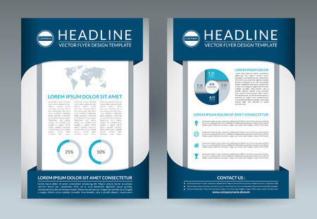 pamphlet: Brochure flyer design layout template. A4 size. Front and back page. Vector booklet, pamphlet, placard, handbill, leaflet design with business icons and infographic elements. Abstract background