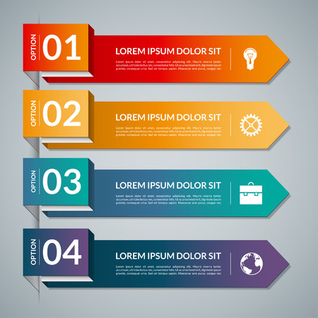 origami banner: Infographic template with 4 steps parts, options. Vector banner with business icons and design elements. Can be used for web, chart, graph, diagram, report, workflow layout. Origami style