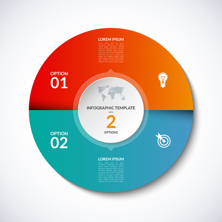 sectors: Vector infographic circle template with 2 steps, parts, options, sectors, stages. Can be used for  for graph, pie chart, workflow layout, cycling diagram, brochure, report, presentation, web design. Illustration