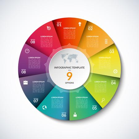 Plantilla cuadrada infografía vector. Bandera con 9 pasos, etapas, opciones, piezas. Puede ser utilizado para el diagrama, gráfica, gráfico circular, folleto, informe, presentación de negocios, diseño de páginas web. Ilustración de vector