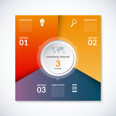 circle abstract: Vector infographic square template. Banner with 3 steps, stages, options, parts. Can be used for diagram, graph, pie chart, brochure, report, business presentation, web design.