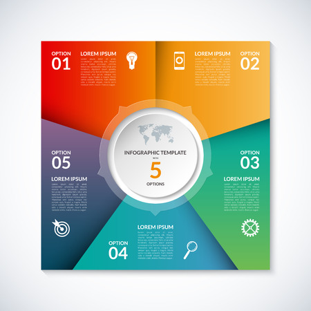 Vector infographic square template. Banner with 5 steps, stages, options, parts. Can be used for diagram, graph, pie chart, brochure, report, business presentation, web design.  イラスト・ベクター素材