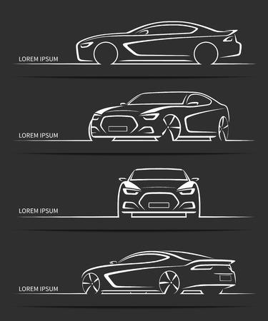 스포츠카 실루엣의 집합입니다. 현대 추상 럭셔리 자동차 윤곽선, 검은 배경에 고립 등고선. 전면 및 후면보기, 측면. 벡터 일러스트 레이 션