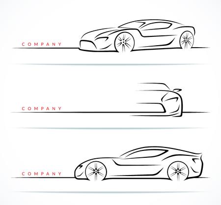 Satz Luxus-Sportwagen-Silhouetten lokalisiert auf weißem Hintergrund. Vorder- und Seitenansicht. Vektorillustration