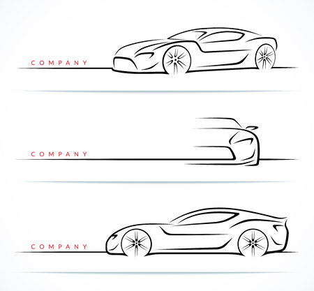 Set of luxury sports car silhouettes isolated on white background. Front and side view. Vector illustration Иллюстрация