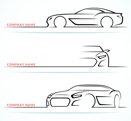 front side: Set of sports car silhouettes isolated on white background. Front, rear, side views. Vector illustration