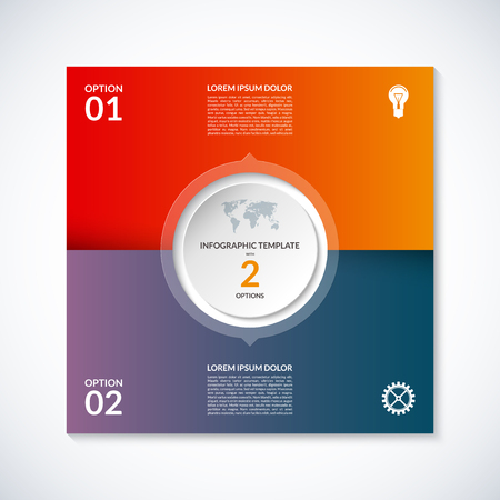 web 2: Vector infographic square template. Banner with 2 steps, stages, options, parts. Can be used for diagram, graph, pie chart, brochure, report, business presentation, web design.