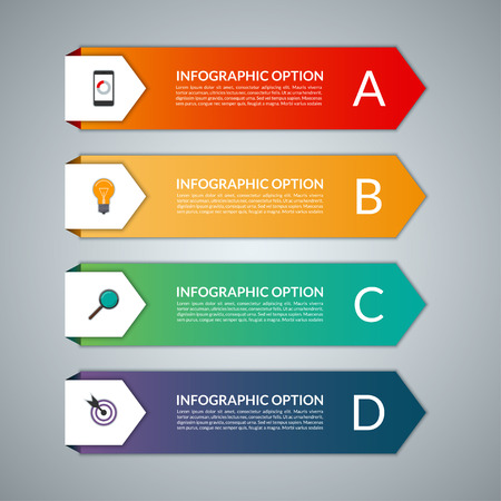Infographic template in a form of paper arrows. Vector background banner with 4 steps, parts, options, stages. Can be used for data visualization, workflow layout, chart, graph, report, web design