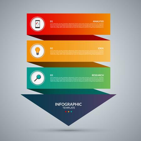 인포 그래픽 개념 화살표. 3 옵션, 부품, 단계, 버튼 벡터 템플릿입니다. 단계 인포 그래픽에 의해 웹, 도표, 그래프, 프리젠 테이션, 차트, 보고서, 단계