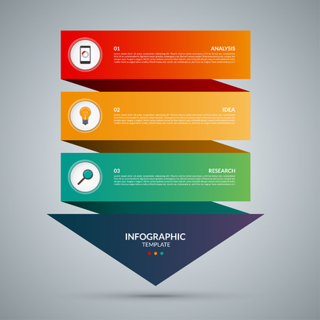 Arrow infographic concept. Vector template with 3 options, parts, stages, buttons. Can be used for web, diagram, graph, presentation, chart, report, step by step infographics. Abstract background.