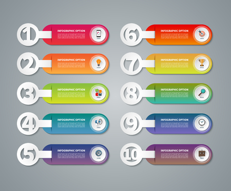 7 9: Set of infographic numbered banners. One, two, three, four, five, six, seven, eight, nine, ten options, parts, steps, stages, processes. Vector template with business icons and design elements