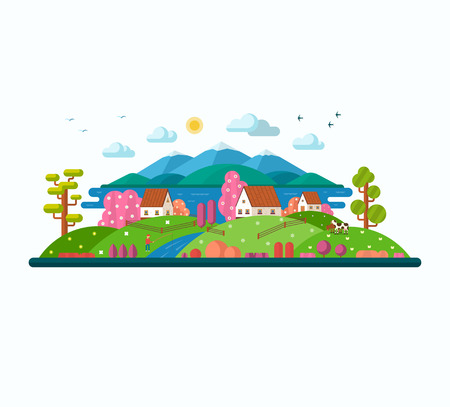 country flowers: Eco landscape. Spring  and summer. Country houses, river, fisherman, lake, hills, cows, mountains, blooming trees, flowers, birds, sun. Flat design vector illustration isolated on white background