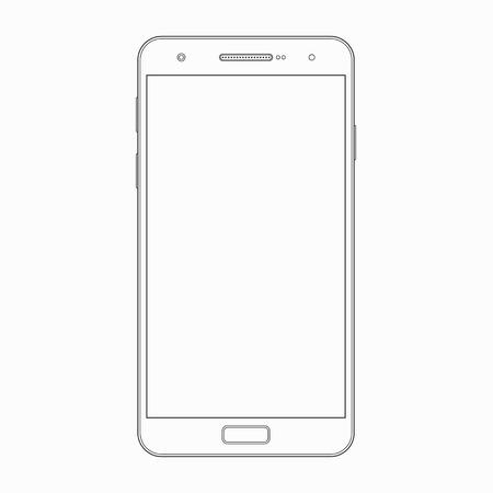 Modèle de contour de smartphone. Vector wireframe contour de téléphone intelligent moderne, téléphone mobile, téléphone portable isolé sur fond blanc. Écran blanc. Dispositif mobile, icône du gadget, symbole, signe