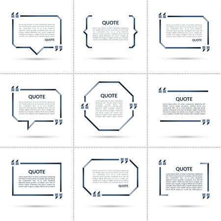parentheses: Set of vector quote templates. Quote speech bubble, quote frame, quote sign, text in brackets. Empty quote boxes with marks isolated on white background