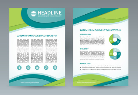 throwaway: Brochure flyer design template. A4 size. Vector layout with icons and infographic elements. Can be used for booklet, leaflet, catalog, annual report, presentation, magazine, advertising etc. Illustration