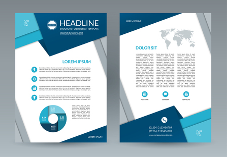 throwaway: Brochure flyer design template in geometric style. A4 size. Front and back page. Vector layout with icons and infographic elements. Can be used for booklet, leaflet, annual report, presentation etc.
