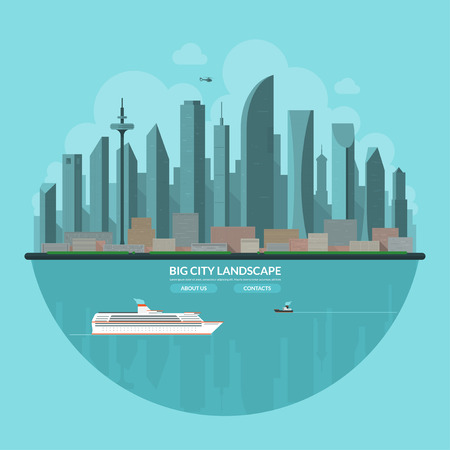 big boat: Modern city landscape. Urban landscape background. Cityscape. Skyline of an abstract big city. Skyscrapers, towers, buildings, embankment, bay, ship, boat, helicopter. Flat vector illustration.
