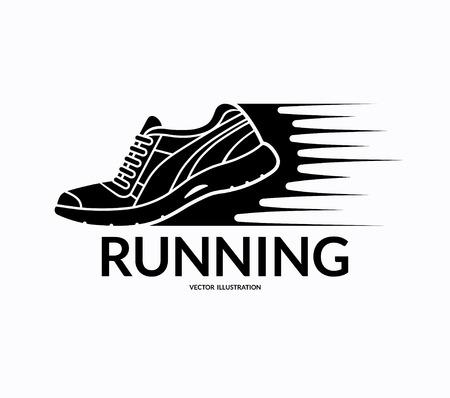 zapato: Correr icono del zapato. Deportes símbolo zapato. logotipo de zapato de entrenamiento. signo de zapatos de fitness. silueta de la zapatilla de deporte con estelas de movimiento. Ilustración del vector aislado en el fondo blanco Vectores