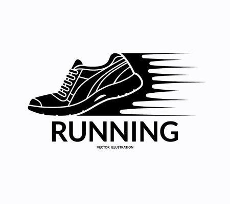 sports shoe: Running shoe icon. Sports shoe symbol. Training shoe logo. Fitness shoe sign. Sneaker silhouette with motion trails. Vector illustration isolated on white background