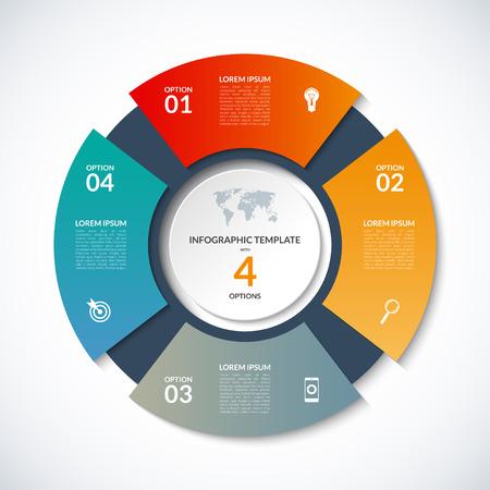 infographics에 대한 원형 템플릿. 4 옵션, 단계, 부품, 세그먼트와 비즈니스 개념. 사이클링 다이어그램, 원형 차트, 원형 차트, 비즈니스 프레젠테이션, 연