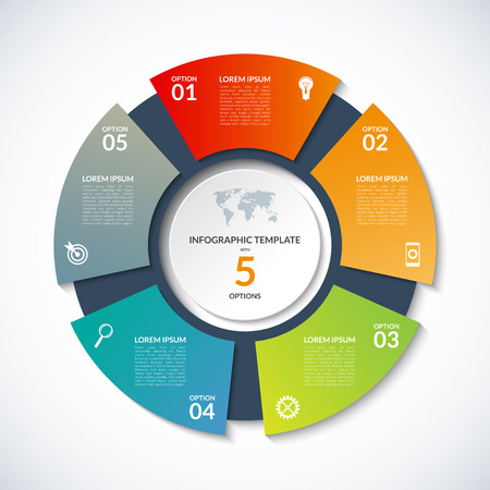 circle template for infographics. Business concept with 5 options, steps, parts, segments. Banner for cycling diagram, round chart, pie chart, business presentation, annual report, web design Stock Illustratie