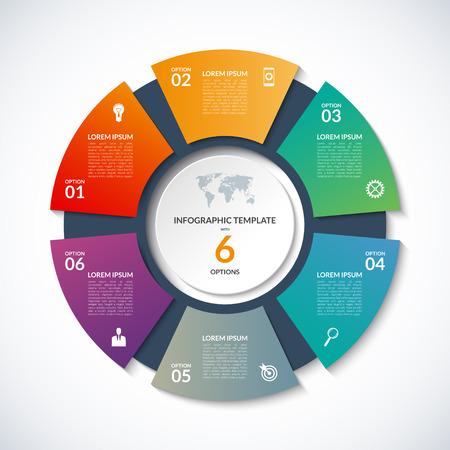 plantilla círculo de la infografía. Concepto de negocio con 6 opciones, los pasos, las piezas, los segmentos. Bandera para el diagrama de ciclismo, tabla redonda, gráfico, presentación de negocios, el informe anual, el diseño web Ilustración de vector