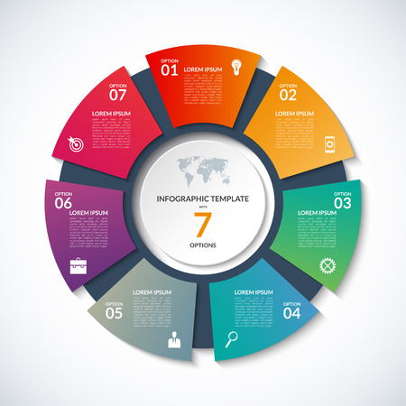 infographics에 대한 원형 템플릿. 7 옵션, 단계, 부품, 세그먼트 비즈니스 개념. 사이클링 다이어그램, 원형 차트, 원형 차트, 비즈니스 프레젠테이션, 연간