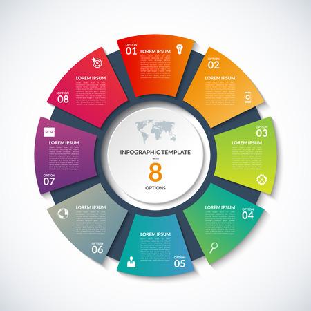 modèle de cercle pour infographies. Business concept avec 8 options, étapes, pièces, segments. Bannière pour le diagramme de cyclisme, diagramme rond, graphique, présentation d'entreprise, rapport annuel, conception de sites Web