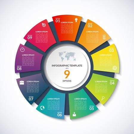 Szablon koła dla infografiki. Koncepcja biznesowa z 9 Opcje, schody, części segmentów. Transparent na schemacie rowerowej, okrągły wykres, wykres kołowy, prezentacji biznesowych, raport roczny, web design Ilustracje wektorowe