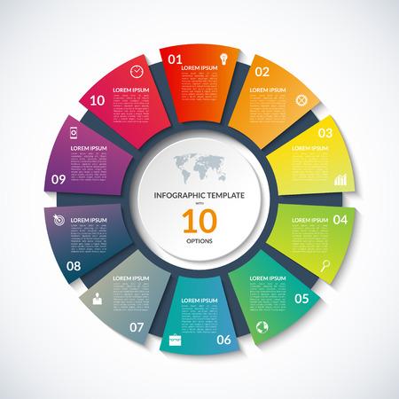 diagrama: plantilla círculo de la infografía. Concepto de negocio con 10 opciones, los pasos, las piezas, los segmentos. Bandera para el diagrama de ciclismo, tabla redonda, gráfico, presentación de negocios, el informe anual, el diseño web