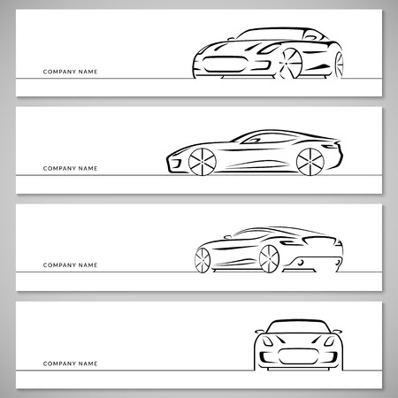 Modern sports car, racing car, sports coupe, luxury car silhouettes, outlines, contours, lines isolated on white background. Front, rear and side view.