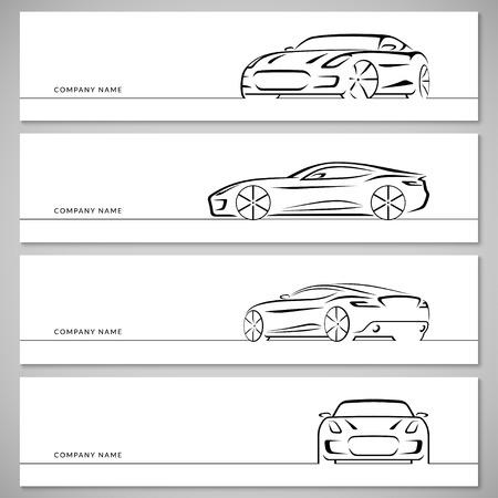 Moderne voiture de sport, voiture de course, coupé sport, silhouettes de voitures de luxe, les contours, les contours, les lignes isolées sur fond blanc. Avant, arrière et vue de côté. Vecteurs