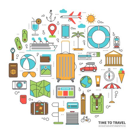 foto carnet: el concepto de viaje ilustración en estilo plana delgada línea con los iconos del turismo, la planificación de las vacaciones de verano, viaje en las vacaciones