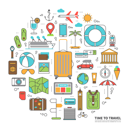 illustration journey: Travel concept illustration in thin line flat style with icons of tourism, planning of summer vacation, journey in holidays Illustration