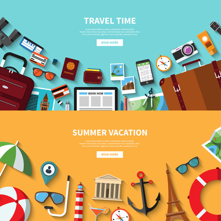 sunglasses recreation: Travel time. Summer vacation. concept banners in flat style with the set of traveling and tourism icons. Travel symbols, objects and accessories, passenger luggage and equipment