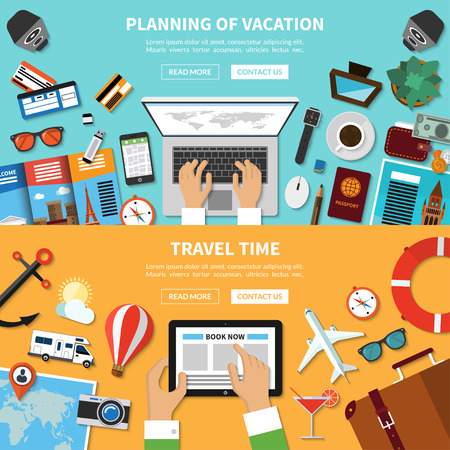 baggage: Planning of vacation. Travel time. Set of concept banners for traveling, tourism, online booking, journey in summer holidays. Top view. Travel symbols, items and objects. Flat design Illustration