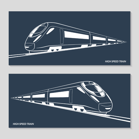 intercity: High speed train. Set of modern speed train silhouettes, outlines, contours. Vector illustration. Isolated on dark background