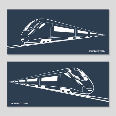 ferrocarril: Tren de alta velocidad. Conjunto de siluetas modernas trenes de alta velocidad, esquemas, contornos. Ilustración del vector. Aislado en el fondo oscuro