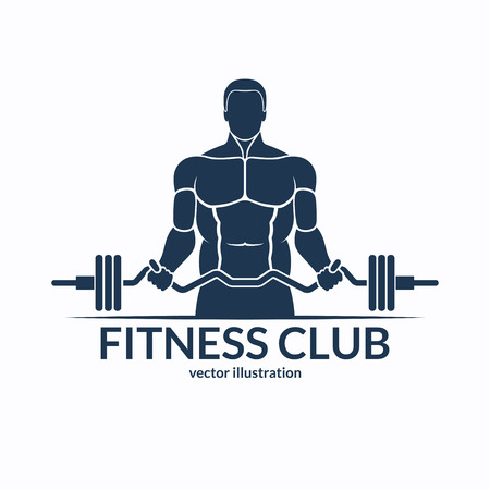 sports training: Fitness . An athlete with a barbell. Gym, bodybuilding, weightlifting, sports, training monochrome emblem, label, badge, sign, symbol. illustration
