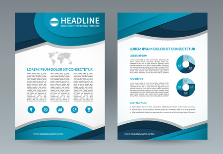 throwaway: Business brochure design template. A4 size. layout with icons and infographic elements. Can be used for booklet, leaflet, catalog, annual report, presentation, magazine, advertising etc. Illustration
