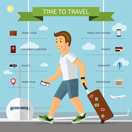airway: Travel infographic concept illustration. Smiling cartoon man with hand luggage suitcase in the airport and the set of icons of tourism, travel by plane, summer vacation planning, journey in holidays Illustration