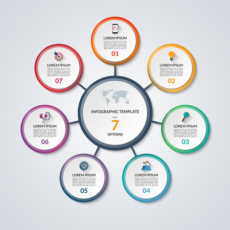 Infographic circle diagram. Vector banner with 7 steps, parts, options. Template for business infographics with the set of flat icons and design elements. Can be used for cycle diagram, round chart.